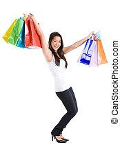 m�dchen, shoppen, asiatisch