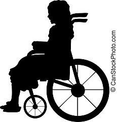 m�dchen, silhouette, kind, sitzen, rollstuhl