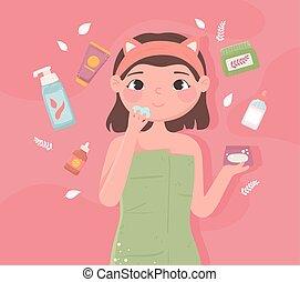 m�dchen, skincare, produkte
