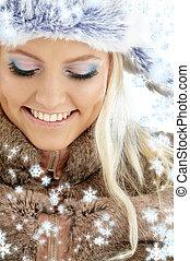 m�dchen, winter, schneeflocken