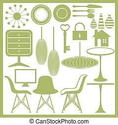 Möbel- und Heimwaren-Ikonen-Set