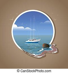 möwen, reflexion, rahmen, weißes, yacht, meer