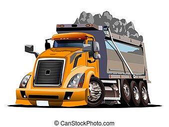 müllkippe, karikatur, vektor, lastwagen