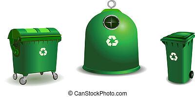 Mülltonnen in Grün