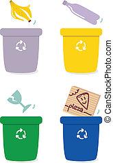 Mülltrennungsschachteln nach Farben isoliert auf Weiß