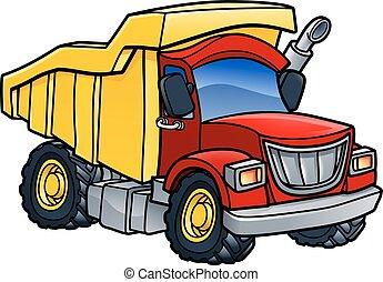 Müllwagen-Tipper-Cartoon.