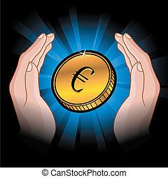 Münzen in den Händen