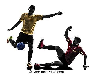 maenner, spieler, fußball, zwei, stehende , silhouette