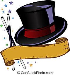 Magic Theme Top Hut und Banner Vektor Illustration.