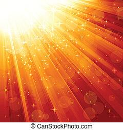 Magische Sterne fallen auf Lichtstrahlen