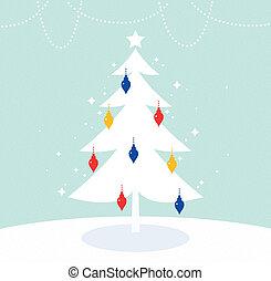 Magischer Weihnachtsbaum mit retrofarbener Dekoration