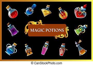 magisches, hintergrund, trank, spiel