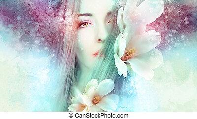 magnolie, schöne frau, artwo
