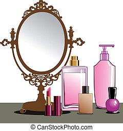 Make-up und Spiegel