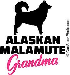 malamute, alaskisch, grossmutter, silhouette