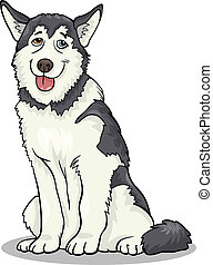 malamute, hund, abbildung, oder, heiser, karikatur