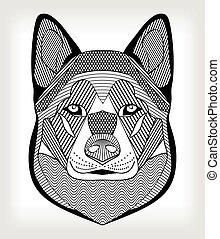 Malamute Hundekopf, schwarze und weiße Zeichnung auf grauem Hintergrund. Isolierter symmetrischer Kopf mit Schlüpfen und Mustern. Als Tätowierungsvorlage, Club-Emblem, Zynologie-Events