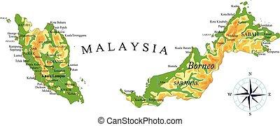 malaysien, landkarte, physisch