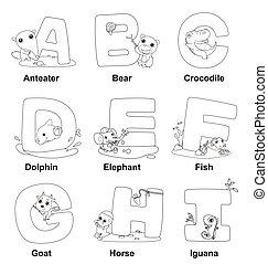 Malt das Alphabet für Kinder, ein für mich