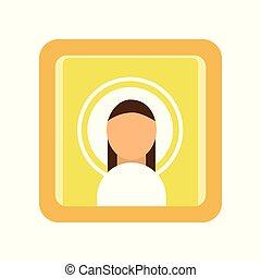Malte Ikone des Heiligen Mannes. Religiöse Kunst. Männliche Silhouette, christliche Symbolik. Religionstraditionen der orthodoxen Kirche. Flat Vektorgrafik