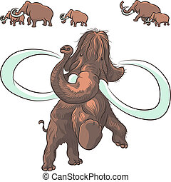 mammoths, vektor, herde