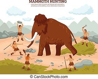 Mammut Jagd Hintergrund.
