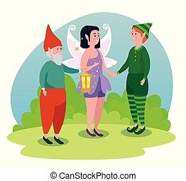 Man gnome mit Mädchenfee und Jungen Elf