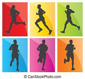 Man-Marathonläufer-Silhouettes-Set