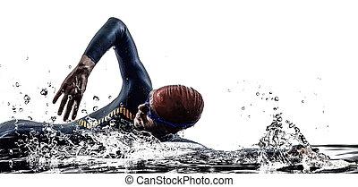 Man triathlon Eisenmann Sportler schwimmen.