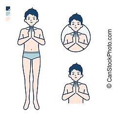 man_prayer, einfache , unterwäsche