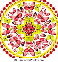 Mandala rote Schmetterlinge im weißen Hintergrund