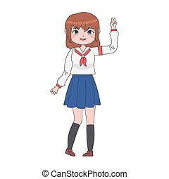 manga, uniform, m�dchen