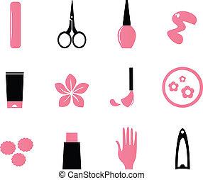 Maniküre, Kosmetika und Schönheits-Ikonen isoliert auf weiß ( rosa, bl