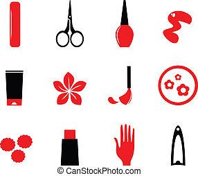 Maniküre, Kosmetika und Schönheits-Ikonen sind auf Weiß ( rot, bla) isoliert