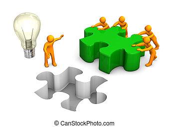 Manikins grüne Puzzle Teamwork Glühbirne.