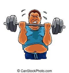 mann, übergewichtige , dicker , hantel