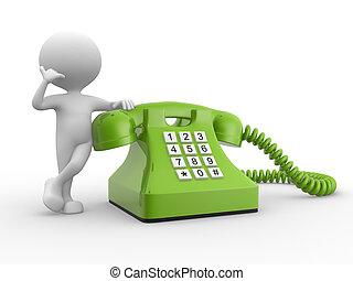 mann, 3d, telefon.
