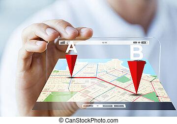 mann, auf, hand, ausstellung, landkarte, smartphone, schließen