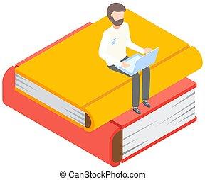 mann, buchausleihe, concept., lesen, sitzen, dein, liebe, junger, groß, buecher, laptop., online, stapel