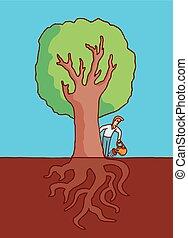 Mann, der große Baum mit Wurzeln wässert.