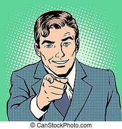 Mann, der mit dem Finger zeigt