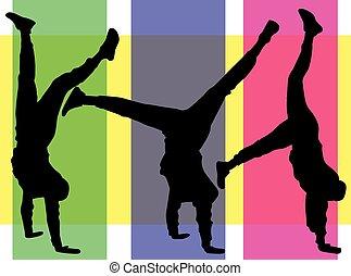 mann, handstand., beweglich, junger, silhouette