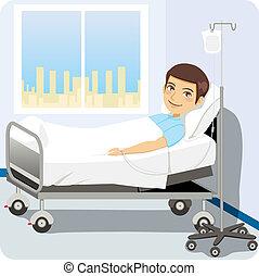 Mann im Krankenhausbett