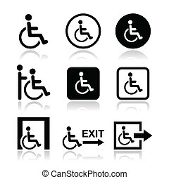 Mann im Rollstuhl, behinderte Ikonen.