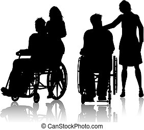 Mann im Rollstuhl mit Frau