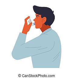 mann, inhalationsapparat, gebrauchend