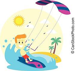 mann, kitesurfing, genießen