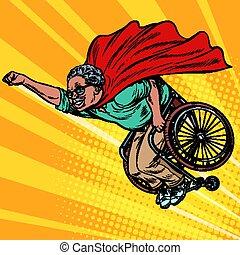 mann, langlebigkeit, behinderten, leute, superhero, pensioniert, älter, wheelchair., afrikanisch, gesundheit