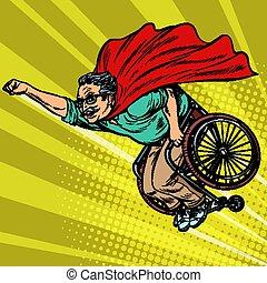 mann, langlebigkeit, behinderten, leute, superhero, pensioniert, älter, wheelchair., gesundheit