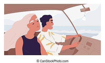mann, leute, frau, genießen, seite, innenseite, paar, glücklich, straße, auto, friends, abbildung, reisen, gefärbt, sommer, vacation., meer, holiday., romantische , wohnung, fahren, reise, ansicht, auto., vektor